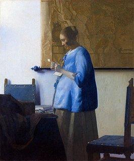 手紙を読む青衣の女  原画同寸