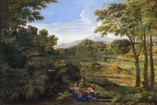 二人のニンフと蛇のいる風景