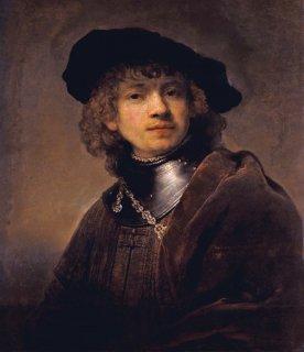 飾り襟とベレー帽を身につけた若い男(自画像) 原画同寸