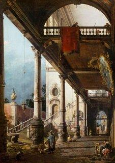 カプリッチョ:宮殿の中庭に面した列柱廊