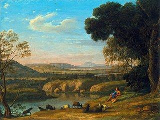 山羊飼いのいる川辺の風景  原画同寸