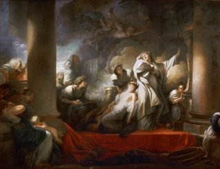 カリロエを救うために自らを生贄に捧げるコレスュス