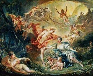 羊飼いの娘イセに神であることを明かすアポロン