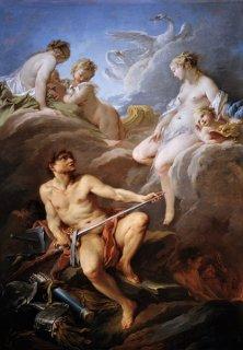 アイネイアスの為にウルカヌスに武器を頼むヴィーナス
