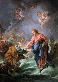 水上を歩もうとする聖ペテロ
