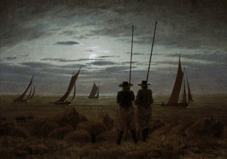 漁師達のいる月夜の浜辺