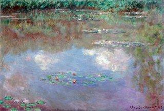 睡蓮、水に映された風景、雲