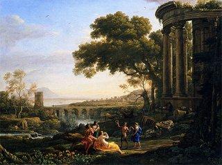 踊るニンフとサテュロスのいる風景