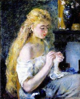 かぎ針編みをする少女