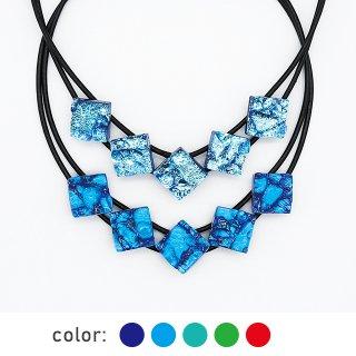 [Reflect] ネックレス(ガラス5連・革紐タイプ)全5色