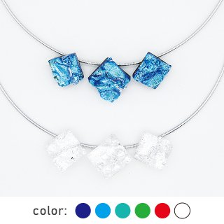 [Reflect] ネックレス(ガラス3連・ワイヤータイプ)全6色