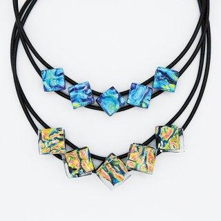 [Ripple] ネックレス(ガラス5連・革紐タイプ)全4色