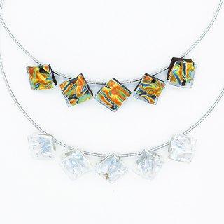 [Ripple] ネックレス(ガラス5連・ワイヤータイプ)全5色