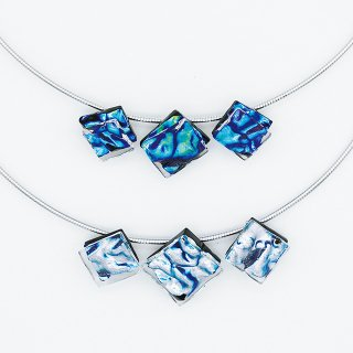 [Ripple] ネックレス(ガラス3連・ワイヤータイプ)全5色