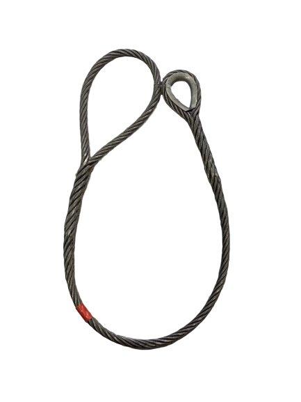ワイヤロープ 東京製綱 ハイクロス 片シンブル片アイ巻差し 径28mm 長さ100M