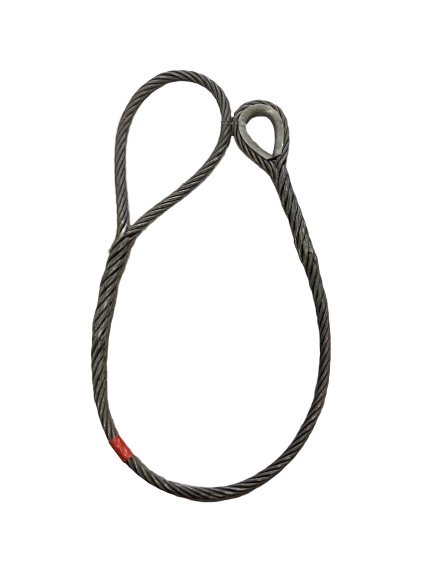 ワイヤロープ 東京製綱 ハイクロス 片シンブル片アイ巻差し 径32mm 長さ2M