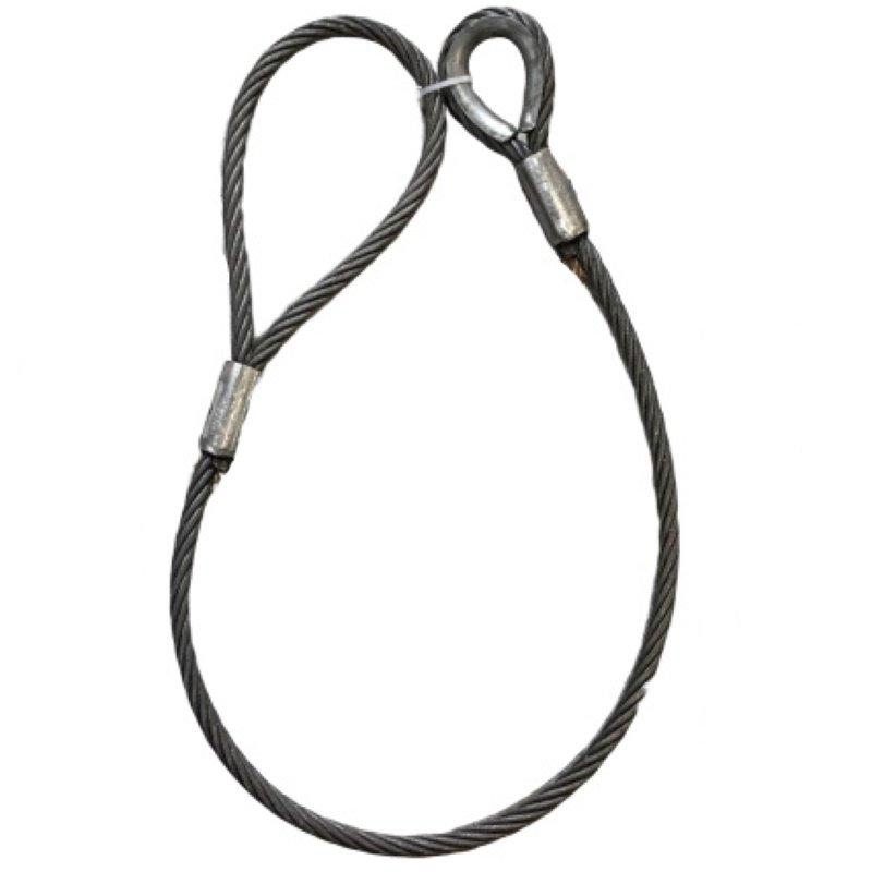 ワイヤロープ 日本製 6×37 G/O 片シンブル片アイロック 径53mm 長さ20M