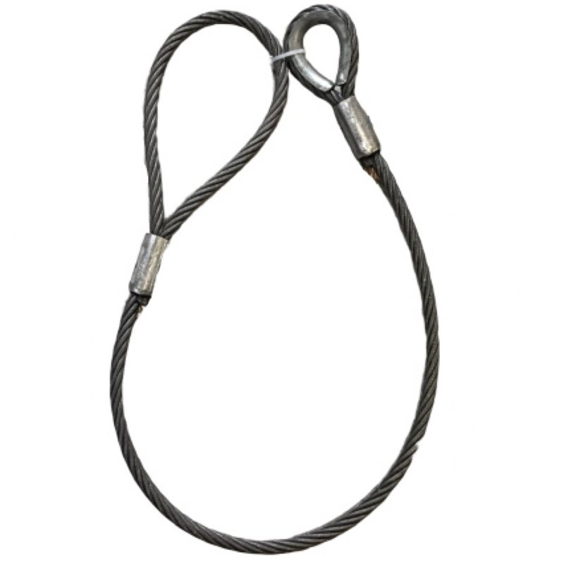 ワイヤロープ 日本製 6×37 G/O 片シンブル片アイロック 径60mm 長さ5M