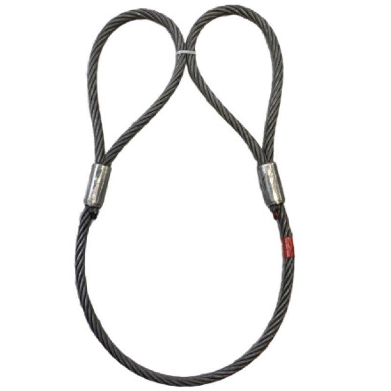 【まとめ買い】ワイヤロープ 東京製綱 ハイクロス 両アイトヨロック 径8mm 長さ2M アイB=160mm:C=80mm 10本セット