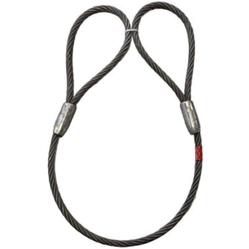 【まとめ買い】ワイヤロープ 東京製綱 ハイクロス 両アイテーパートヨロック 径9mm 長さ1M アイB=200mm:C=100mm 10本セット