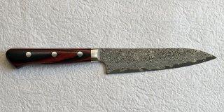 加藤義実 墨流しペティ125mm Yoshimi Kato suminagashi petty with red black plywood handle 18,700 JPY