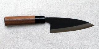 山本直 黒打ち出刃140mm Nao Yamamoto single bevel deba with walnut handle 20,900 JPY