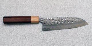 加藤義実 鎚目三徳170mm Yoshimi Kato hammered santoku with jarrah handle 26,400 JPY