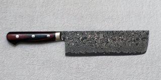 加藤義実 墨流し菜切り185mm  Yoshimi Kato suminagashi nakiri with red black plywood handle 27,500 JPY
