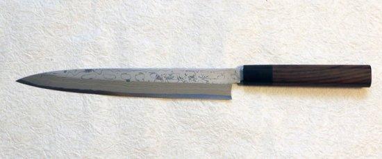 ※左利き用 北岡英雄 柳刃8寸 墨流し  Hideo Kitaoka suminagashi yanagiba 240mm 33,800 JPY