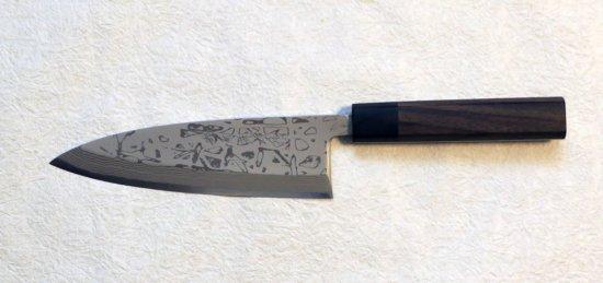 ※左利き用 北岡英雄 出刃6寸 墨流し  Hideo Kitaoka suminagashi deba 180mm  31,900 JPY