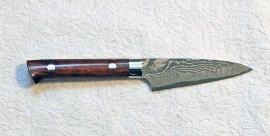 佐治武士 VG10多層鋼 ペティ90mm アイアンウッド柄 Takeshi Saji VG10 damascus petty with ironwood handle 27,500 JPY