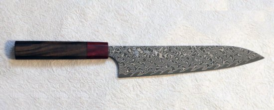 加藤義実 墨流し牛刀210mm Yoshimi Kato SG2 damascus gyuto 210mm with rosewood octagon handle 35,200 JPY