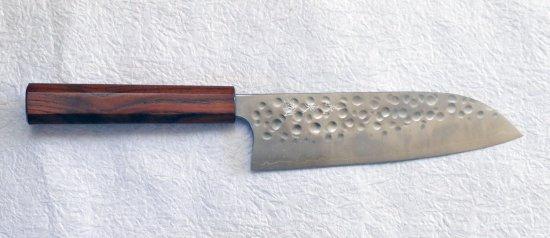 加藤義実 鎚目三徳170mm Yoshimi Kato hammered santoku with enju handle 26,400JPY
