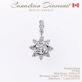 ◆カナディアンダイヤモンド◆<br>ペンダントヘッド 0.20ctUP&カナディアンダイヤモンド 計0.10ctUP [K18WG][型番:6027320000]