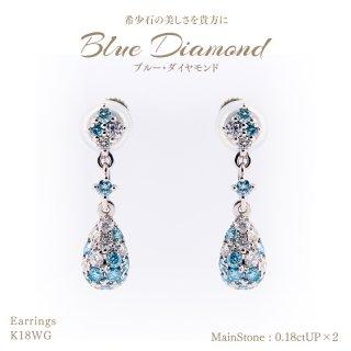 【在庫品限り】◆ブルー&パープルダイヤモンド◆<br>イヤリング ブルーダイヤモンド0.18ctUP×2&ダイヤモンド 0.05ctUP×2 [K18WG][型番:6636750000]
