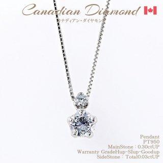 ◆カナディアンダイヤモンド◆<br>ペンダント 0.30ctUP & カナディアンダイヤモンド0.03ctUP [PT950][型番:6544270000]