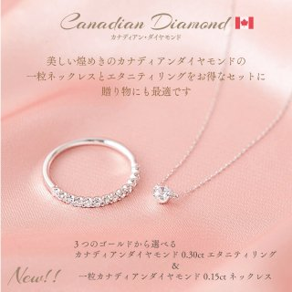【New!】カナディアンダイヤモンド計0.30ct エタニティリング&0.15ctネックレス セット [WG/YG/RG][型番:spset01]