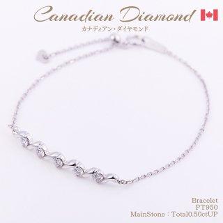 ◆カナディアンダイヤモンド◆<br>ブレスレット 計0.5ctUP [PT950]
