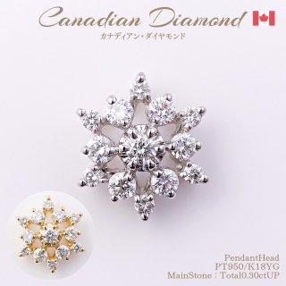 ◆カナディアンダイヤモンド◆<br>ペンダントヘッド 計0.30ctUP [PT950/K18YG]