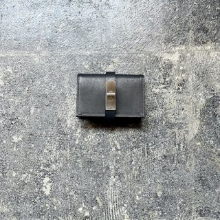 カードケース オイルレザー ブラック×金具サティーナシルバー