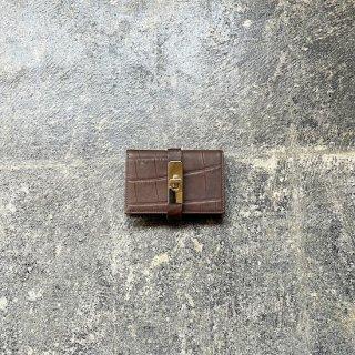 限定生産!!カードケース クロコダイル型押し ブラウン×金具ゴールド