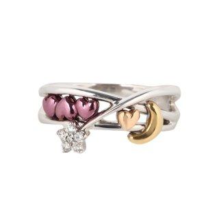 日本初 紫色の18金 K18ホワイトゴールド・パープルゴールド・ピンクゴールド・イエローゴールドダイヤモンドリング