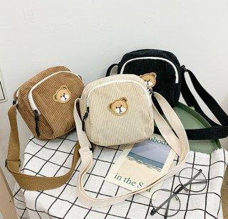クマさんがかわいい♪コーデュロイカジュアルショルダーバッグ♪(小さいサイズ・全3色)