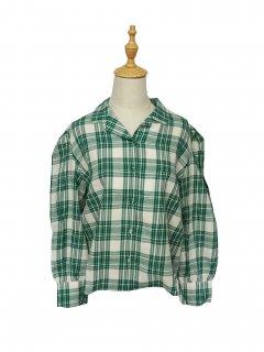韓国製グリーンチェックシャツ♪
