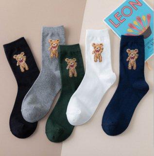 クマさんの刺繍入りシンプルデザインソックス(全4色)