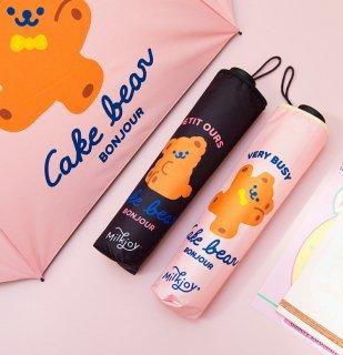【milkjoy】クマさんの折りたたみ日傘♪雨天でも使えます!(全2色)
