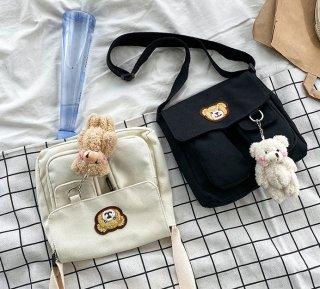 ポケットがたくさん♪クマさんのスクエアメッセンジャーバッグ(全2色)