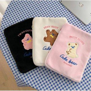 【milkjoy】可愛いクマさんのソフトipadケース♪ノートやその他小物入れとしても使えます(全3色)