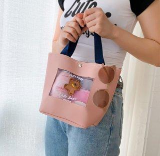 【milkjoy】キャラクターが可愛い♪シースルー合皮ハンドバッグ(全3色)
