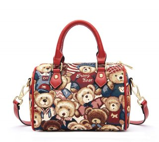 【ErangBear】斜め掛けできるクマさん柄の豪華なミニボストンバッグ(全3色)